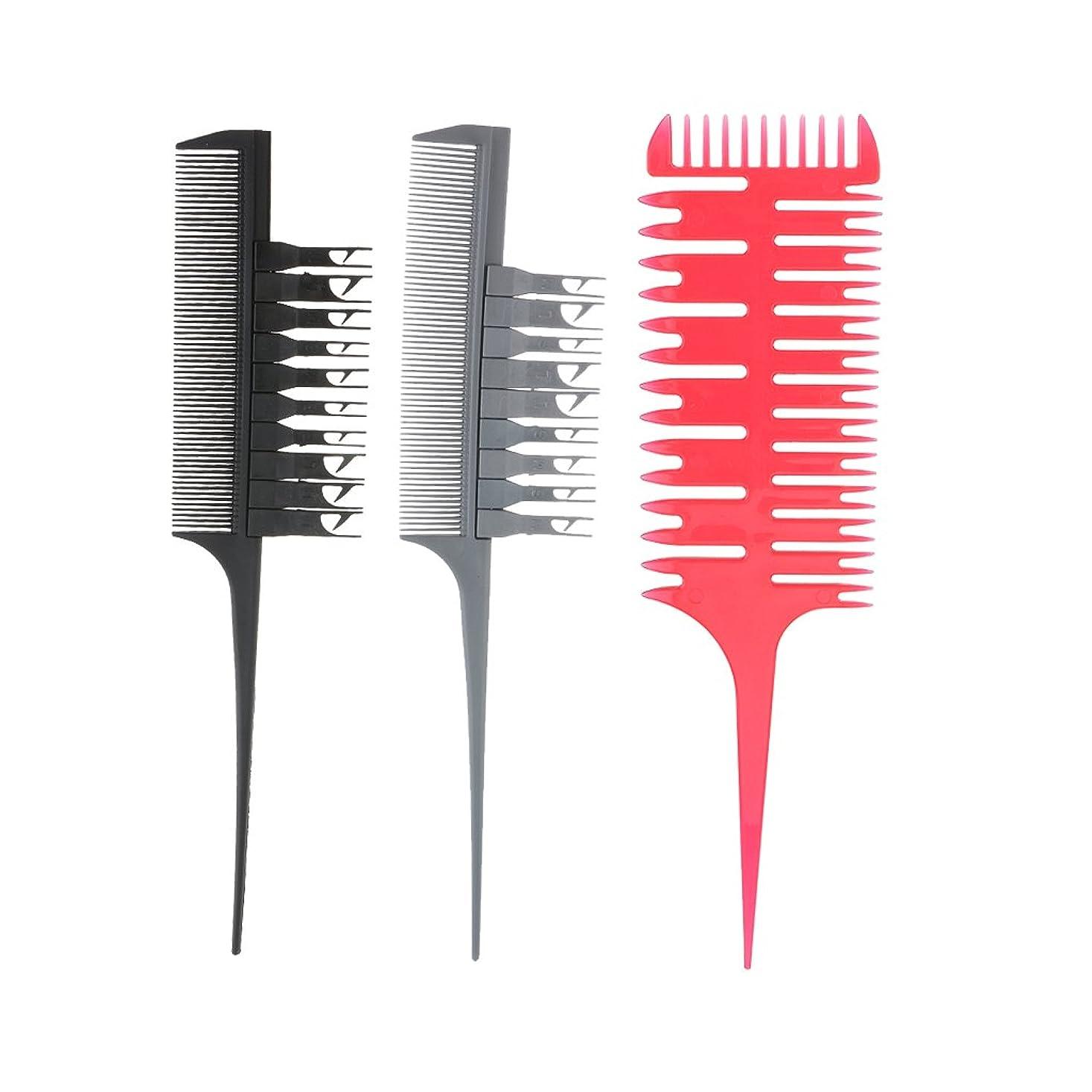 流行デンマーク語上げる3ピースプロフェッショナル理髪セクショニング織りハイライトカラーリングサロン染色バレヤージュヘアコームツールセット付き交換可能ピックアップフック
