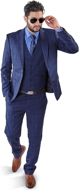 Slim Fit Suit 2 Button Peak Lapel Windowpane Checkered Flat Front Pants 1698