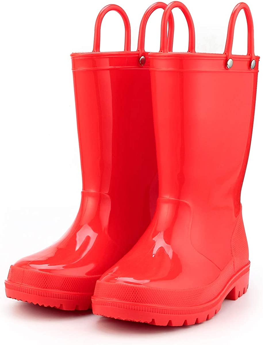 Toddler Rain Boots Environmental Material Boots with Memory Foam Insole and Easy-on Handles K KomForme Kids Rain Boots