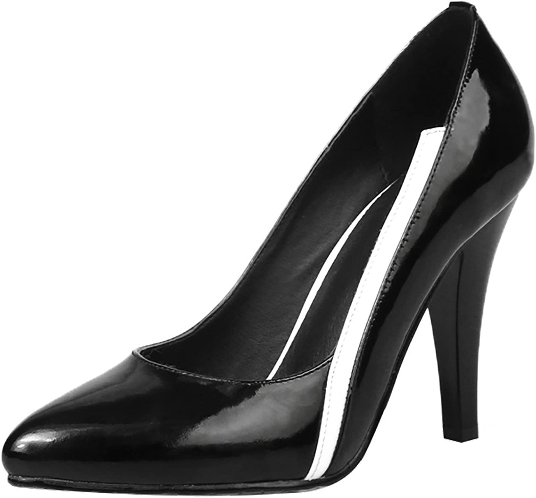 Calaier Womens Jtaao Pointed-Toe 10CM Cone Heel Slip-on Pumps shoes