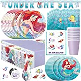 Little Mermaid Party Supplies, Decorations and Favors for Princess Ariel Birthday Party, Serves 16 Guests, Easy Setup and Takedown with Table Cover, Plates, Napkins & More