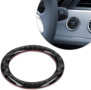 kwmobile Start Stop Button Ring Compatible with BMW BMW 3 Series E90/E91/E92/E93 - Carbon Fiber Car Trim Cover - Black