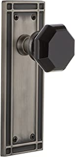 Nostalgic Warehouse 724707 Mission Plate Privacy Waldorf Black Door Knob in Antique Pewter, 2.75