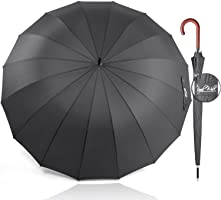 Royal Walk Windproof Umbrella Black Large 54 Inch Automatic Open for 2 Persons Stormproof for Men Women Classic Wooden...