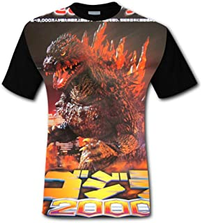 Red Moon God-Zilla Printed T Shirts Outdoor Sport Short Sleeve Fast Drying BEKAI Mens Hipster Tee