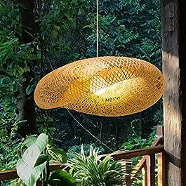 Lustre De Tissage Vintage Bambou Naturel lampe suspendue Main En Rotin Bois En Osier Rotin Lampe Plafonnier Suspension…