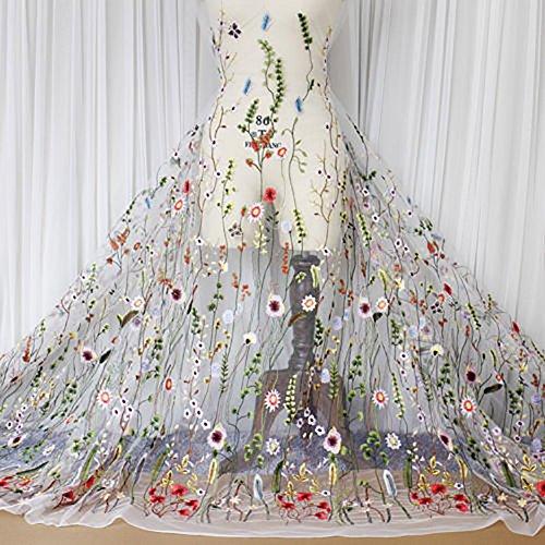 Blumig Bestickter Spitzenstoff, Mesh-Stoff zum Nähen, Geeignet für Hochzeitskleider, 100x120cm/39.37
