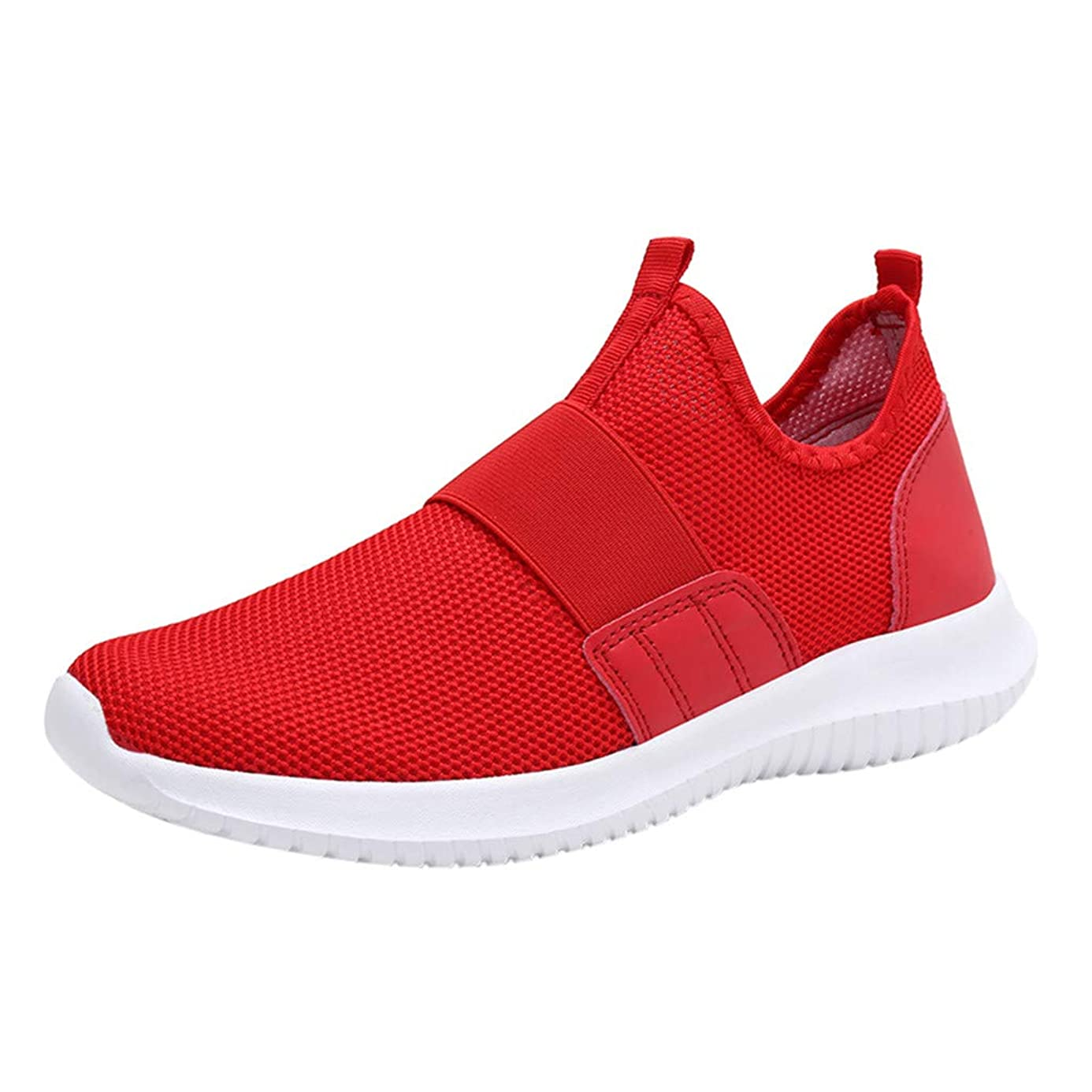 Men Breathable Running Shoes,Mosunx Athletic Boys Lightweight Sneakers Lazy Movement Shoes Without Shoelaces Fashion Casual Mesh Trail Walking Shoes Gym Movement Shoes (46, Red)
