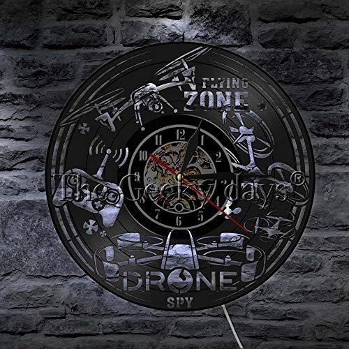 LTOOD Drone Vinyl Record Wandklok Drones Vliegen Sport Stille Decoratieve Klok Horloge Vliegende Zone Unieke Home Office Muurdecoratie Teken