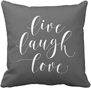 Emvency Throw Pillow Cover Her Gray Live Laugh Love Grey Decorative Pillow Case Home Decor Square 18 x 18 Inch Pillowcase