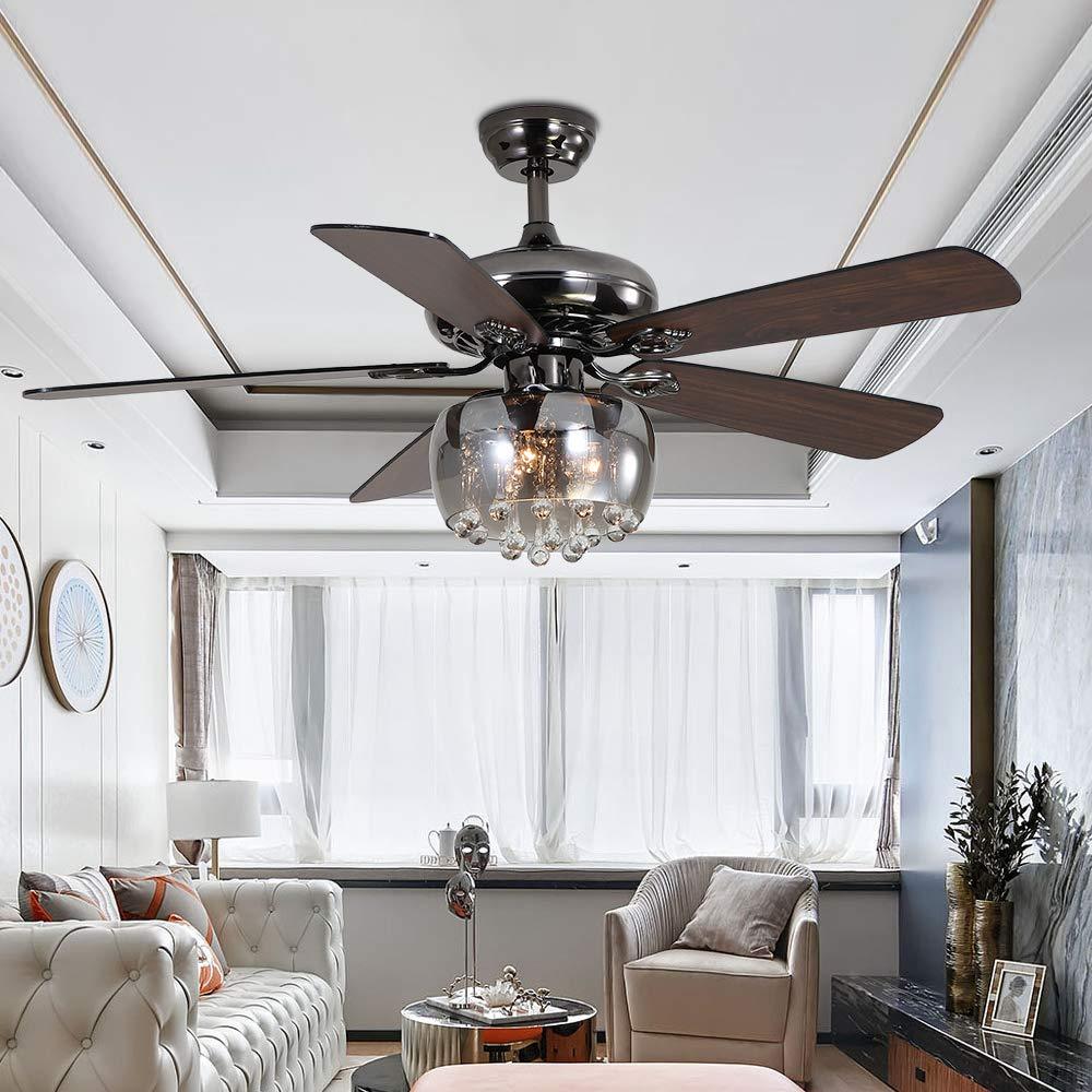 rainierlight moderno ventilador de techo 3 tulipa de cristal