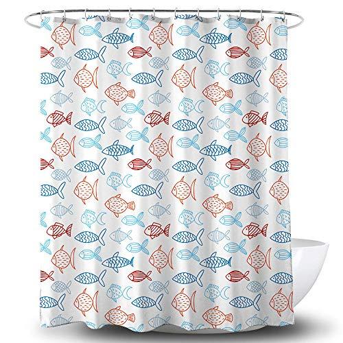 chuanglanja Wasbaar Badgordijn Verdikt polyester waterdicht douchegordijn met zwaar lood 180 * 180cm kleine visprint wit douchegordijn