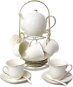 DaGiBayCn 20 Piece European Ceramic Tea Sets,Bone China Coffee Set with Metal Holder,White Tea Set,600ML/Pot,160ML/Cup.