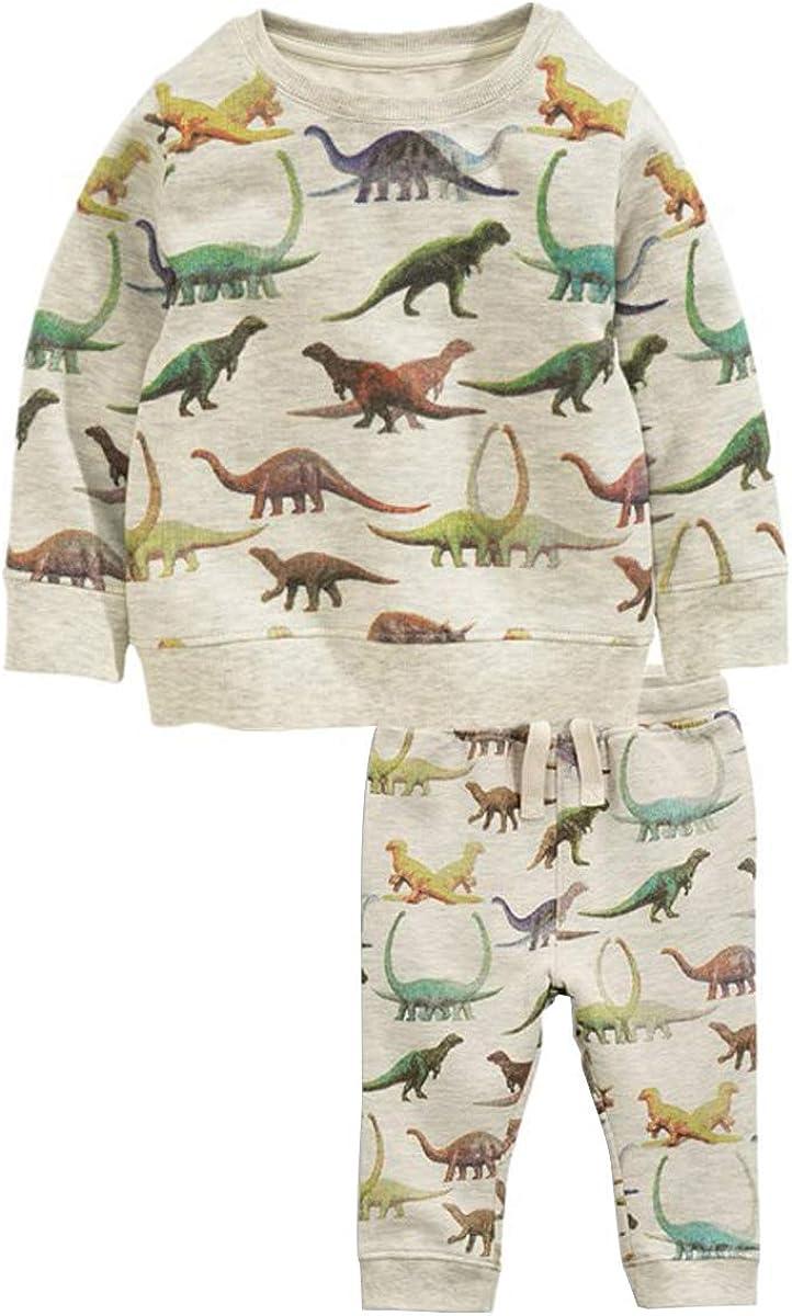 Jungen Schlafanzug Jungen Dinosaurier Langarm Zweiteiliger Schlafanzug Kinder Herbst Winter Bekleidung Nachtw/äsche Pyjama 98 104 110 116 122 128 134
