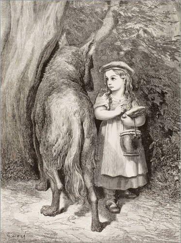 Posterlounge Holzbild 100 x 130 cm: Szene von Rotkäppchen von Charles Perrault von Gustave Doré/Design Pics
