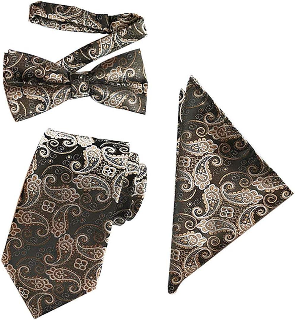 3 Pack Men's Tie Set Paisley Bowtie Pocket Square Kit for Dad, Husband, Boyfriend