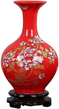 Jarrones Rojo chino retro florero de cerámica con la base, la belleza de pintura, patrón de la flor del Peony, florero amaril