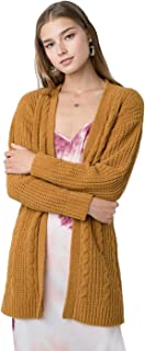 BodiLove Women's Chunky Cable Knit Open Front Oversize Sweater Cardigan