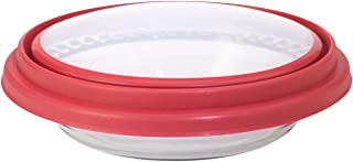 Anchor Hocking 11461ECOM 9.5 in. Deep Pie w/Wide Fluted Edge and Red Expandable Cover 11461, small,