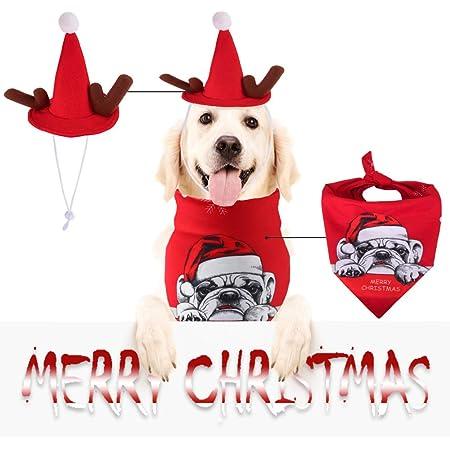 AUTOWT Juego de Gorro y pañuelo navideño para Perros, Baberos Triangulares Accesorios con Gorro Fiesta Navidad Ajustable Bufanda Transpirable Cachorro para Mascotas pequeñas Medianas Grandes