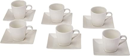 Conjunto 6 Xícaras para Café de Porcelana Square Lyor Branco 90Ml