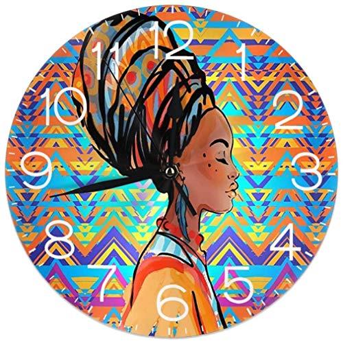 Alfombrillas de baño Reloj de Pared Redondo para Mujer Africana con Turbante (Funciona con Pilas, 9,5 Pulgadas) para Estudiante, Oficina, Escuela, hogar, Reloj Decorativo