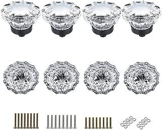 SHINY HANDLES 8 Pcs Glass Knobs Vintage Crystal Glass Drawer Pulls Knobs Dresser Knob Cabinet Knobs,Matte Black, 1.5x1.4inch,3 Types Screws,8pcs/Pack, Factory Supply