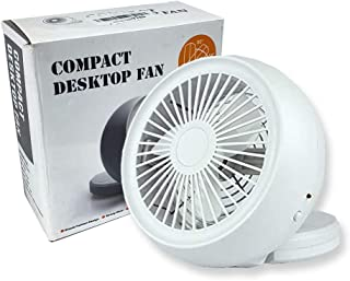TriProC Portable Mini USB Table Desk Personal Fan, USB or AA Battery Operated, Extra Quiet (White)