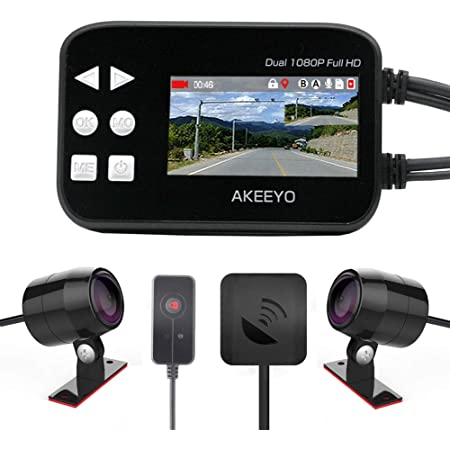 AKEEYO オートバイ専用 GPS搭載 ドライブレコーダー 32GBカード同梱 日本全国LED信号機対応 200万画素 140°超広角 前後1920×1080P 同時録画 防水カメラ 2.7インチモニター G-Sensor WDR エンジン連動 ループ録画 日本語マニュアル_AKY-868G-2019