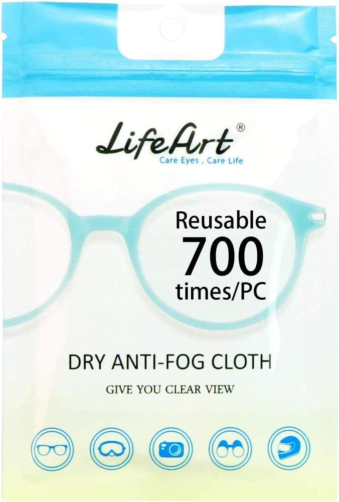 LifeArt Anti Fog Cloth for Eyeglasses, Microfiber Cleaning Cloth for Screen, Goggles and Ski Masks, Nano Technology, Reusable 700 Times, Safe on All Types of Lens Coating, Streak-Free (5 Pack)