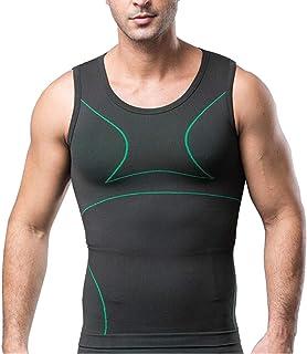 Men Waist Trainer Corset Slimming Vest Body Shaper Tank Top Belly Underwear Shapewear Shirt,Green,M