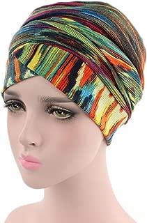 Beautyfine India Muslim Hats, Women Elastic Turban Print Hat Head Scarf Wrap