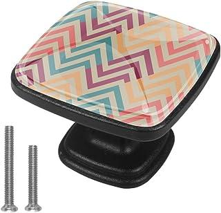 4 pomos de 30 mm diseño étnico zigzag con tornillos para el hogar oficina cocina baño aparador y armario (1-1/8 pul...
