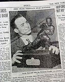 OHIO STATE BUCKEYES Les Horvath Wins Heisman Trophy 1944 World War II Newspaper THE NEW YORK TIMES, New York, December 6, 1944
