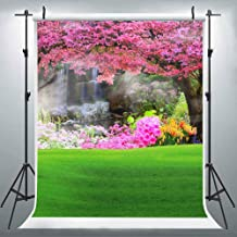 Nature Flower Grass Photography Backdrop for Easter Party, 6x9FT, Pink Flower Green Grass Background, for Themed Party Wedding Church Family Portraits, Photo Booth Props LUZZ486