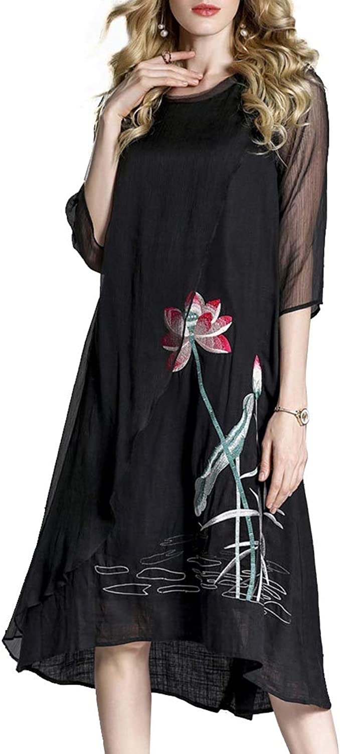 CEFULTY Women's Vintage Lotus Embroidered 3 4 Sleeve Fake Two Pieces Dress (color   Black, Size   M)