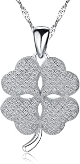 925 Sterling Silver Cubic Zirconia Necklace Sweet Four Leaf Clover Pendant Fine Jewelry for Girls Women