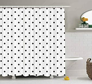 Shorping 72X72 Shower Curtain, Shower Curtain Kids Shower Curtain with Hooks Mini Black Rhombuses Tessellation on White Background Fall Shower Curtain Forest Shower Curtain Waterproof Decor Bathroom