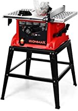 Goplus Table Saw, 10-Inch 15-Amp Portable Table Saw, 36T Blade, Cutting Speed Up to 5000RPM, 45º Double-Bevel Cut, Aluminu...