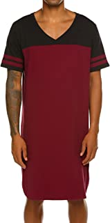 Ekouaer Men's Nightshirts V Neck Cotton Sleepwear Short Sleeve Big&Tall Sleeping Shirt Comfy Loose Nightwear M-XXXL