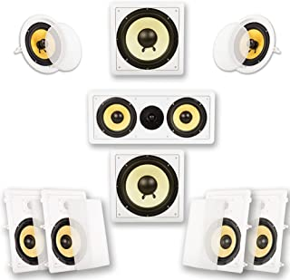 Acoustic Audio by Goldwood HD728 Flush Mount In-Wall/Ceiling Home Theater 7.2 Surround Sound 8 Inch Speakers (9 Speakers, ...