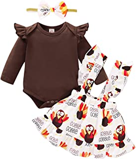 Thanksgiving Infant Baby Girl Ruffle Long Sleeve Romper Turkey Suspender Skirt Headband 3PCS Clothes Outfits Set