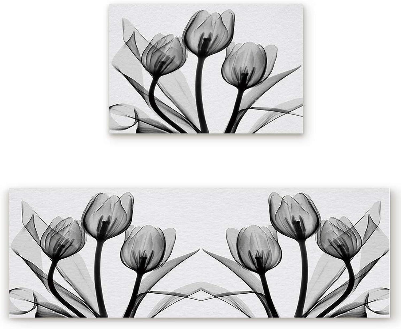 Savannan 2 Piece Non-Slip Kitchen Bathroom Entrance Mat Absorbent Durable Floor Doormat Runner Rug Set - Tulip Flowers Floral Pattern