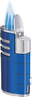 JETPRO Torch Cigar Lighter Triple Jet Flames Butane Tobacco Pipe Lighter Heavy Metal Shell with Cigar Punch Cutter (Blue)