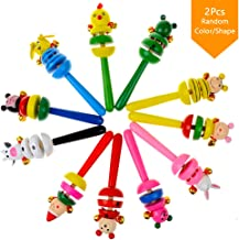 Sealive Wooden Sound Hammer Handbell Cute Cartoon Animals Hand Bell Wood Rattles Musical Educational Instrument Toy,Perfect Gift for Baby Kids Toddler(2Pcs,Random Color/Shape)