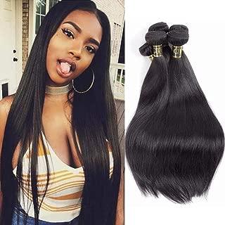 QTHAIR 12A Straight Human Hair Bundles Indian Straight Hair(14 16 18,300g,Natural Black) 100% Unprocessed Indian Straight Virgin Human Hair Bundles