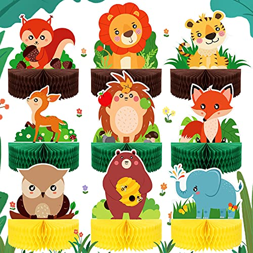 9 Pieces Woodland Animals Honeycomb Centerpieces Woodland Animal Party Decoration Woodland Animal Cakes Balls Table Toppers Animal Paper Centerpiece Signs for Forest 3D Table Decor, 6.9 x 8.5 Inches