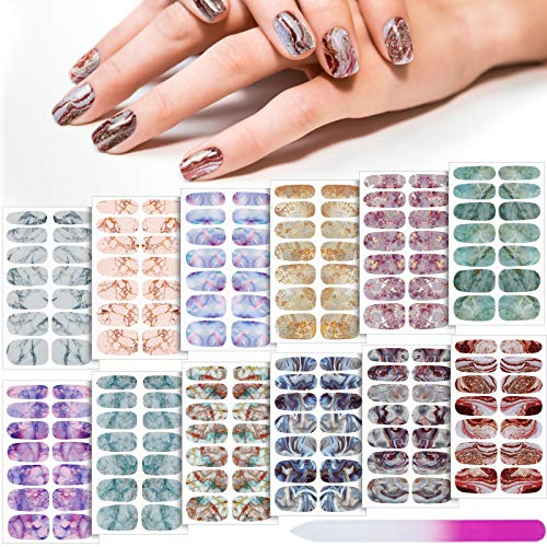 168 Pieces 12 Sheets Gradient Marble Full Nail Stickers Marble Printed Full Wrap Nail Stickers Self-Adhesive Nail Art Decal Strips with Glass Nail File for Women Girls DIY Nail Art (Classic Style)