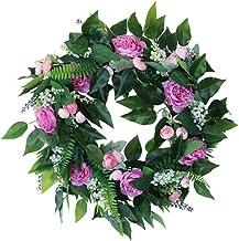 KESYOO Artificial Rose Wreath Seasonal Flower Wreath Spring Door Wreath Hanging Flower Decooration for Wedding Home Front ...