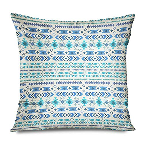 Suo Long Funda de cojín Azul Indio Tatuaje Gráfico Acuarela Patrón Beige Tradicional Elegante Resumen Tribal Batik Border Pillowcase